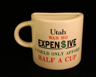 "Vintage ""Half Cup"" Mug Utah Travel Vacation Souvenir"
