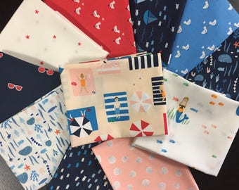 Seas the Day Full Fabric Collection - Fabric Bundle by Paula and Waffle for Dear Stella - 11 Fat Quarters