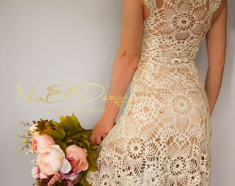 BEIGE Crochet Dress. Crochet wedding dress Crochet mini dress. Dress. Clothing. Boho dress. Crochet boho dress. Lace dress. Knit dress