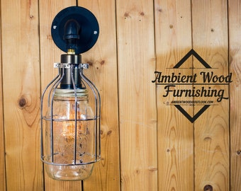 Wall sconce mason jar cage brass socket Edison bare bulb pendant light industrial style