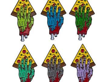 Zombie Hand Punk Rock Pizza Slice Enamel Lapel Pin Hand