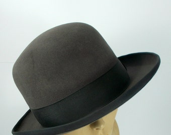 Mens Vintage anthracite gray Bowler hat, fine felted wool Melon Mid century hat