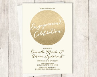 Gold Engagement Party Invitation / Gold Sparkle Glitter Wedding Sign / Metallic Gold and Cream ▷ Printed Wedding Invitations {or} Printable