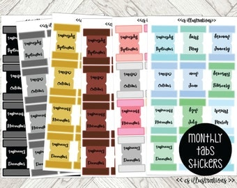 Monthly Tabs Planner Stickers | Perfect for Passion Planner Classic and Compact; A5 and Personal Size Planners