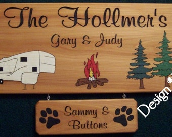Customized Camping RV sign Personalized Yard Sign Engraved Wooden Sign Cedar Name Sign