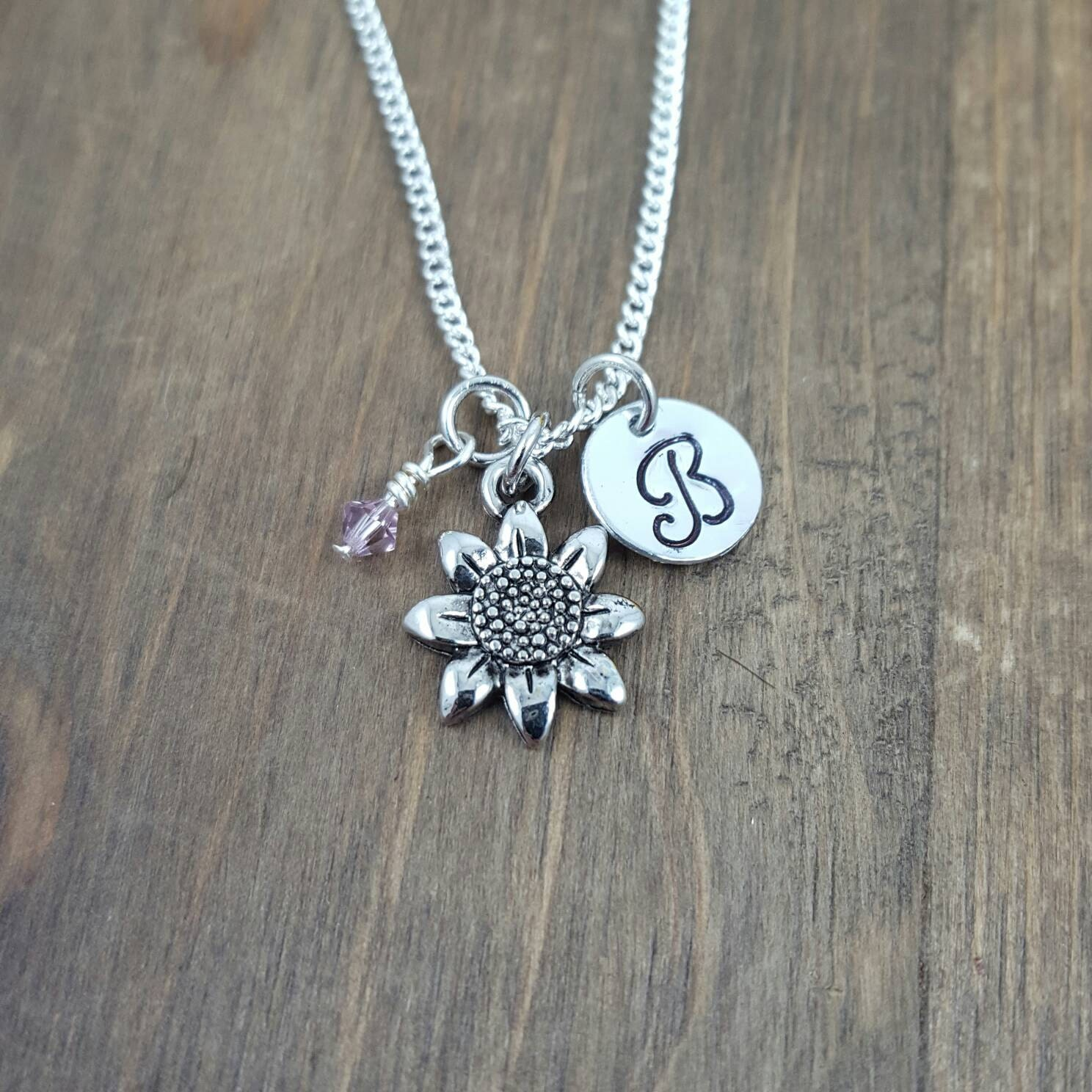 Personalized Sunflower Necklace Hand Stamped Monogram