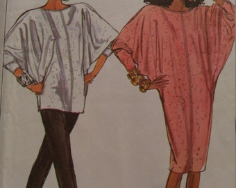 Simplicity 8387, OOP 1987, Jiffy, dolman sleeve top and dress, size small