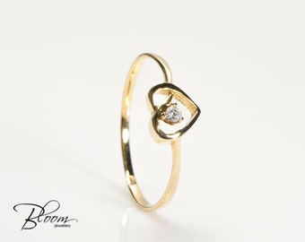 Goldring mit stein  Zarte goldring | Etsy
