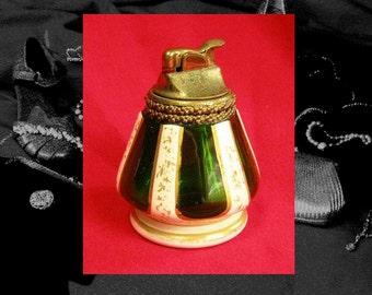 EVANS BAVARIAN LIGHTER, hand painted green glass table lighter, unusual evans 20s - 30s vintage evans lighter, see listing re vintage wear