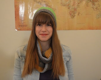 Infinity scarf and striped beanie