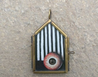 Eye See You - Locket No.2 / Glass Lockets / Hand Painted / Necklace / Eye Necklace