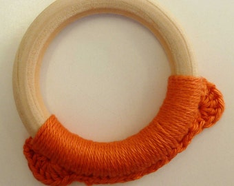 Orange Bear Teething Toy, Orange Teething Ring, Baby Teether, Wooden Teething Toy, Montessori Toy, Orange Crochet Teething Toy