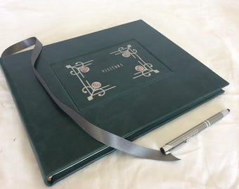 Landscape Visitors book/ Guest book bound in dark green hide leather