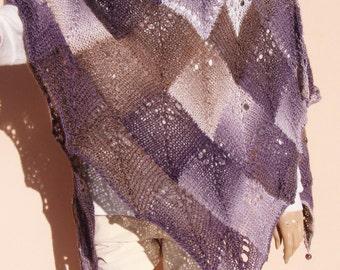 hand knitted shawl, handmade triangle shawl, aubergine brown shawl wrap with beads