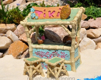 Tiki Bar, Stools, 3 Piece Set for Miniature Garden, Fairy Garden