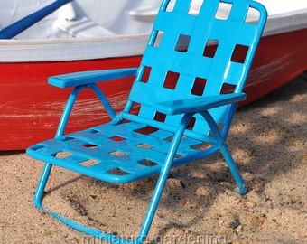 Web Lawn Chair for Miniature Garden, Fairy Garden, Color: Blue
