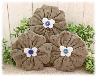Flowers Bowl Fillers 3-Set Cupboard Tucks Blue Floral Taupe