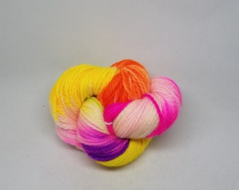 Superwash BFL Aran Weight Hand-dyed Yarn - Neon Rocket - Natural