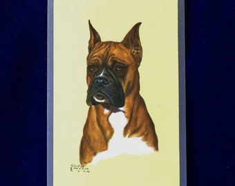 1950's Gladys Emerson Cook Boxer Dog Art Playing Card Father's Day