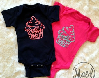 Freshly Baked Cupcake One Piece Bodysuit {Coral or Teal Text}