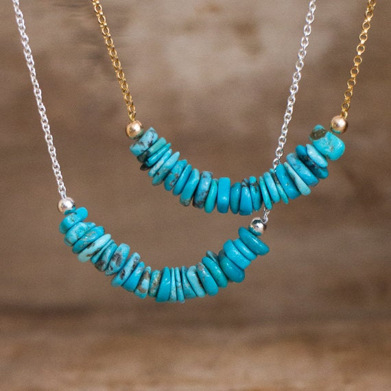 Turquoise Necklace, December Birthstone, Genuine Arizona Turquoise Row Necklace, Real Turquoise Bar Necklace, Gold Silver Turquoise Jewelry