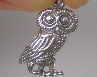 For Sale Owl Of Wisdom Small Silver Pendant - High Quality Item - Goddess Athena Symbol