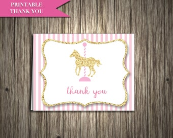 """Carousel horse thank you card printable: """"CAROUSEL THANK YOU"""" light pink striped gold glitter carousel horse thank you card digital download"""