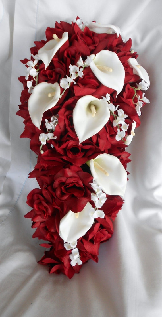Red roses cascade bridal bouquet callas and lilies of the valley and callas 2 pieces