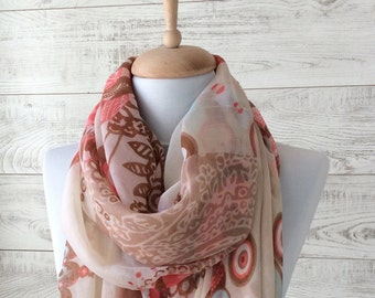 Infinity scarf spring scarf summer infinity scarf coral scarf lace scarf summer scarf wedding wrap oversize scarf coral scarf