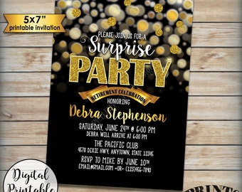 "Surprise Retirement Party Invitation, Black and Gold Bokeh, Gold Glitter Surprise Party Retirement Celebration, 5x7"" Digital Printable file"