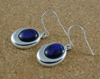 Purple Abalone shell drop earrings