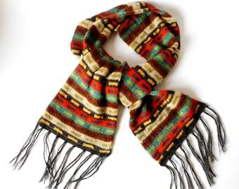 Vintage  Scarf, Wool Scarf, Multicolor Scarf