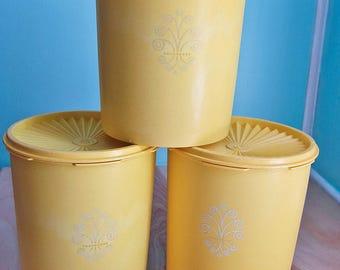 Vintage 1970s Sunburst Yellow Servalier Tupperware Canister 807-1
