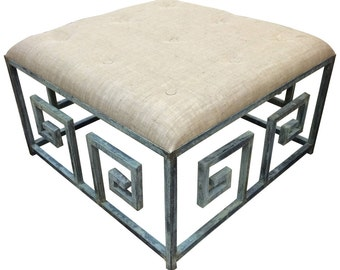 Greek Key Iron Ottoman Coffee Table
