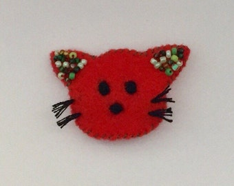 Cute Kitty Cat Brooch/Kitty Cat Pin/Kitty Cat Badge