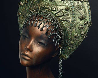 Exclusively handmade old Russia style headdress KOKOSHNIK