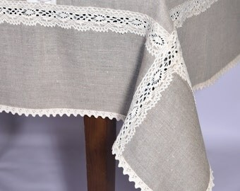 "Wide Linen tablecloth Width 64""-80"" Cotton lace edge, 104 120 140 84 inch large custom tablecloth light"
