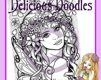 Flower Fairy Colouring Page, Coloring Page, Digital Stamp