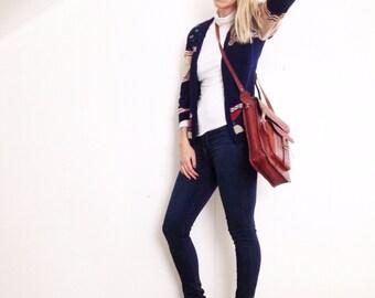 Vintage leather crossbody satchel. Large tooled leather crossbody bag. Tooled leather bag. Boho crossbody.