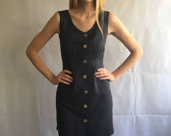 90s Vintage Midnight Blue Fitted Shirt - Dress
