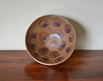 Studio Pottery Bowl wood fired decorated