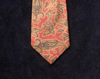 Vintage Jaeger Gentleman's Red Paisley Silk Tie