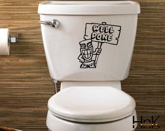 well done decal vinyl wc sticker wall decal interior bathroom decor b015