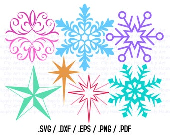 Snowflake Clipart, Winter Snowflakes Wall Art, Snowflakes SVG File for Vinyl Cutters, Screen Printing, Silhouette, Die Cut Machines - CA369