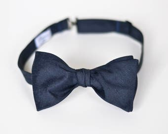 Midnight Navy Raw Silk Self Tie Bow Tie