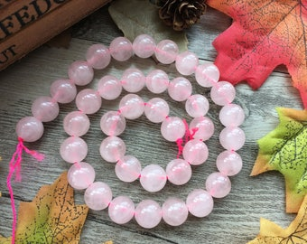 1pc 10mm Pink Crystal  Rose Quartz Gemstone Loose Beads For Jewelry Necklace Spacer Beads Charms