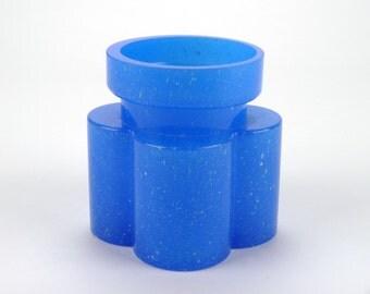 Alsterfors blue glass vase, signed by Per-Olof Strom - Swedish P O Strom mottled glass vase - Mid century modernist Sweden