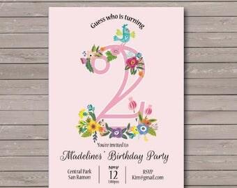 First Birthday Invitation - Baby One Year Invitation