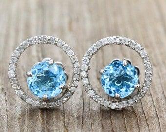 14K White Gold, Blue Topaz, Diamonds Earrings 2.9 grams, 2.75cttw