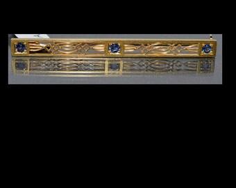 14K Yellow Gold & Blue Sapphires 4 grams, 1/3 cttw